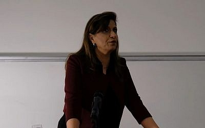 Screen capture from video of Nadera Shalhoub-Kevorkian, professor of social work and law at the Hebrew University of Jerusalem, during a presentation. (YouTube)