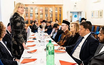 Marie van der Zyl, the president of the Board of Deputies of British Jews, attends an interfaith event in London, June 13, 2018. (Courtesy of the Board of Deputies of British Jews via JTA)