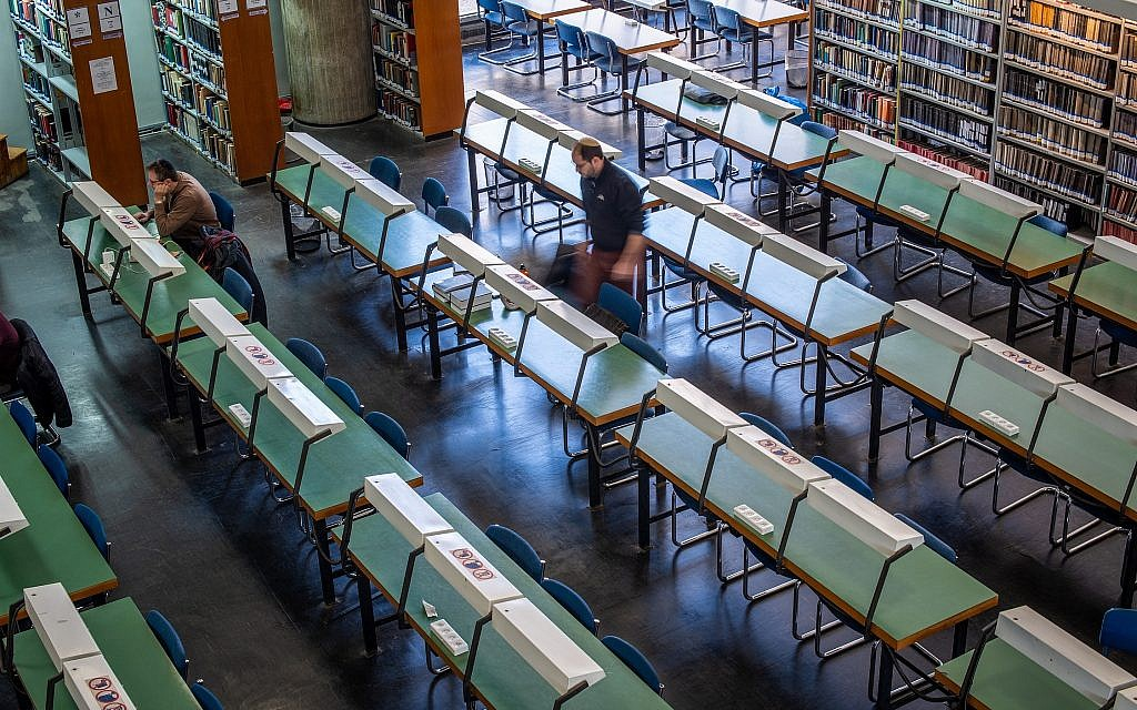 Sitting down to study at the National Library of Israel in Jerusalem (Courtesy Robert Dawson)