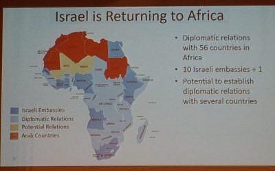 A map of Africa shown to US-Jewish leaders by PM Netanyahu at a conference in Jerusalem, February 18, 2019 (TOI staff)