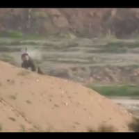 The moment an IDF officer was hit in the helmet by a sniper bullet during a riot along the Gaza border on January 22, 2019. (Screen capture: Al-Mayadeen TV)