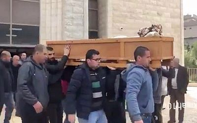 Mourners carry the coffin of Siwar Keblawi during her funeral in the northern city of Umm al-Fahm on February 9, 2018. (Screen capture: Twitter)
