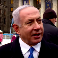 PM Netanyahu delivering a statement in Warsaw, February 13, 2019 (screen shot GPO)