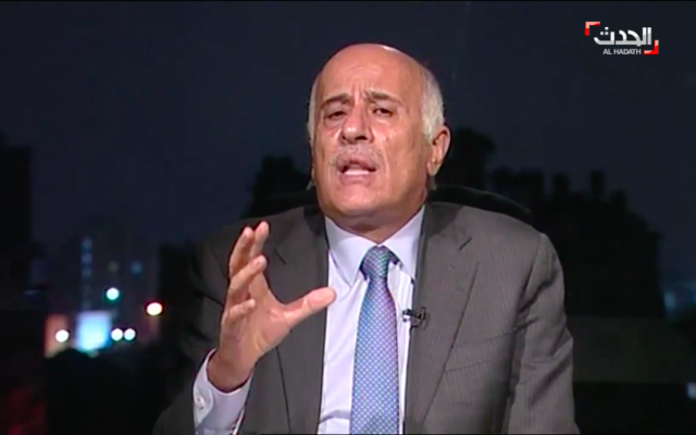 Senior Fatah official Jibril Rajoub speaking to Saudi-owned Al-Hadath news channel (Screenshot: Al-Hadath)