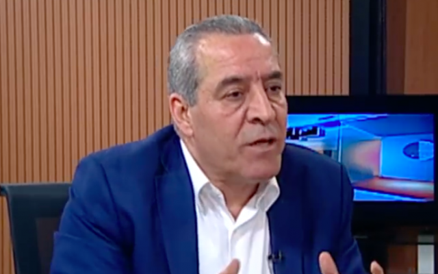 Hussein al-Sheikh, a close confidant of Palestinian Authority President Mahmoud Abbas, speaking on Palestine TV, the official PA channel. (Screenshot: Palestine TV)
