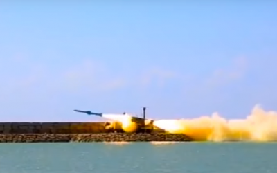 A missile launch during the Velayat 97 drill by the Iranian military on February 23, 2019, in footage released by Iranian media. (Screenshot: YouTube)