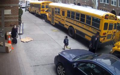 A car nearly running over Jewish schoolchildren near Yeshiva Medrash Chaim in Borough Park, New York, February 21, 2019. (Screenshot: YouTube)
