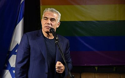 Yesh Atid leader Yair Lapid presenting his party's platform on LGBT rights in a press conference in Tel Aviv on February 7, 2019. (Courtesy)