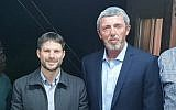 Betzalel Smotrich and Rafi Peretz are seen after agreeing to form a joint Jewish Home-National Union Knesset slate, February 14, 2019. (Courtesy)