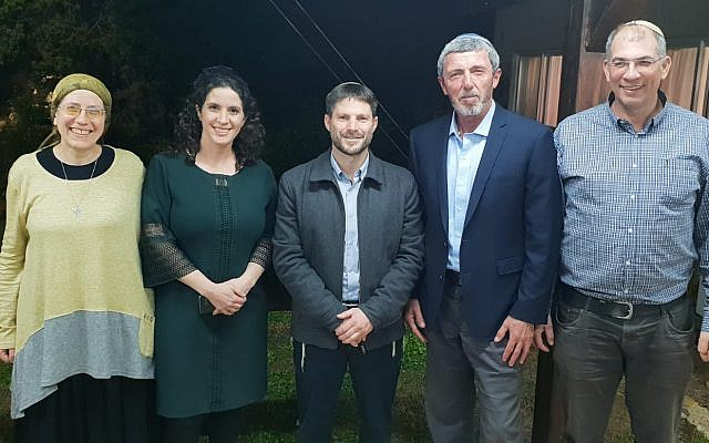 From left, Orit Strok, Yifat Erlich, Betzalel Smotrich, Rafi Peretz and Ofir Sofer posing after agreeing to form a joint Jewish Home National Union Knesset slate February 14, 2019. (Courtesy)