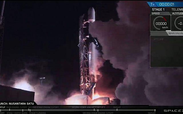 The Falcon 9 rocket lifting off with the Beresheet spacecraft on February 22, 2019, as seen on the command center screens in Yehud, Israel. (SpaceIL)