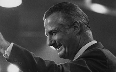 Spiro Agnew campaigning at the Republican Convention in Miami in 1972 (Keystone/Getty Images via JTA)