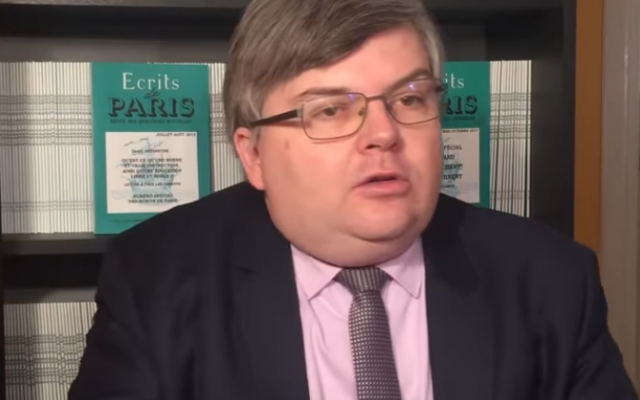 Jerome Bourbon, editor of far-right French magazine Rivarol (YouTube screenshot)