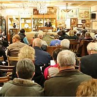 "The auction hall in Auktionshaus Weidler im Nuremberg, Germany, where five paintings signed ""A. Hitler"", all of them watercolours, will be auctioned off on February 9, 2019. 26 other artworks were pulled from the sale as suspected forgeries. (Screenshot)"
