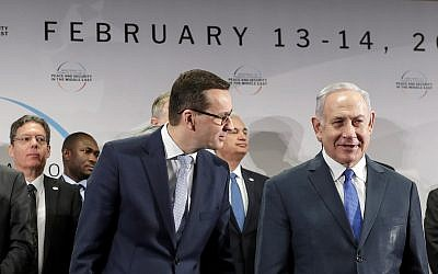 Prime Minister of Poland Mateusz Morawiecki, left, and Israeli Prime Minister Benjamin Netanyahu at a conference on Peace and Security in the Middle East in Warsaw, Poland, February 14, 2019. (AP/Michael Sohn)