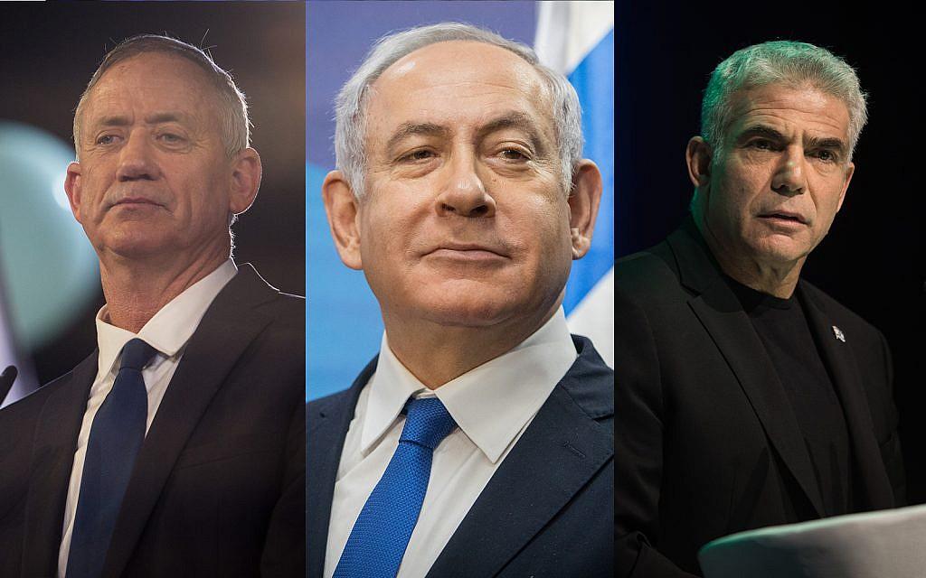 Left, Benny Gantz, center, Prime Minister Benjamin Netanyahu, right, Yair Lapid. (Hadas Parush, Noam Revkin Fenton, Hadas Parush/ Flash90)