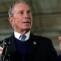 Illustrative: Michael Bloomberg speaks to media in Nashua, New Hampshire, January 29, 2019. (AP Photo/Elise Amendola)