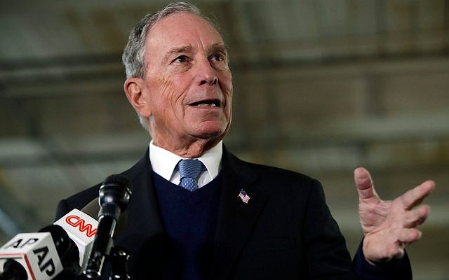 Potential Democratic presidential candidate Michael Bloomberg speaks to media in Nashua, New Hampshire, January 29, 2019. (AP Photo/Elise Amendola)