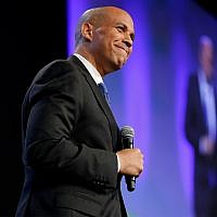 US Sen. Cory Booker, D-NJ, speaks during the Iowa Democratic Party's annual Fall Gala, October 6, 2018, in Des Moines, Iowa. (AP Photo/Charlie Neibergall)