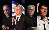 From left to right: Moshe Ya'alon, Benny Gantz, Yair Lapid, Gabi Ashkenazi. (Flash90)