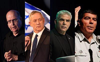 From left to right: Moshe Ya'alon, Benny Gantz, Yair Lapid, Gabi Ashkenazi. (Flash90)