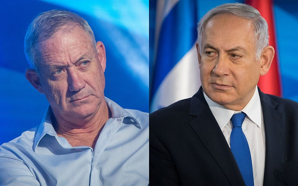 Former IDF chief of staff Benny Gantz, left, and Prime Minister Benjamin Netanyahu, right. (Flash90)
