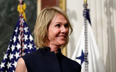 US Ambassador to Canada Kelly Knight Craft stands during her swearing in ceremony on the White House grounds, September 26, 2017. (AP Photo/Alex Brandon)