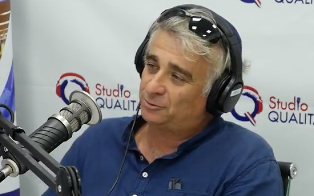 Ilan Levy Neumand speaks during a radio interview on October 31, 2017 (screen capture: YouTube)