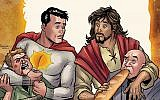 The cover of the first 'Second Coming' comic, from DC Comics unit Vertigo, depicts a Jesus Christ, right, who returns to Earth and fights for good alongside the superhero Sun-Man, left. (Screen capture, DC Comics website)