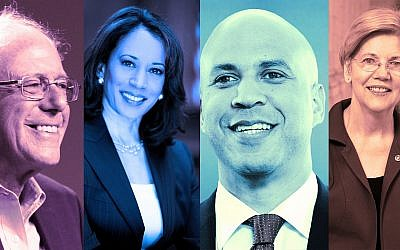From left: Sens. Bernie Sanders, Kamala Harris, Cory Booker and Elizabeth Warren. (Wikimedia Commons via JTA)