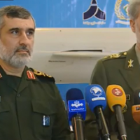 Iranian defense officials unveil new cruise missile Hoveyzeh in Tehran, February 2, 2019 (YouTube screenshot)
