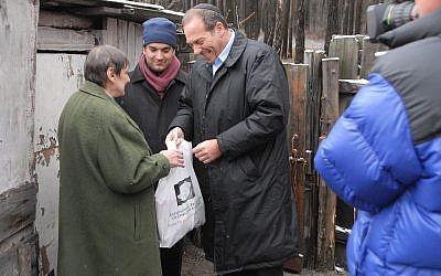 Rabbi Eckstein visiting Ukraine, February 2008. (Karen Sandvick)