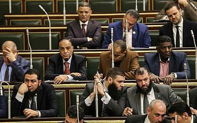Members of Egypt's Parliament meet to deliberate constitutional amendments that could allow President Abdel-Fattah el-Sissi to stay in office till 2034, in Cairo Egypt, Feb 13, 2019. (AP Photo)