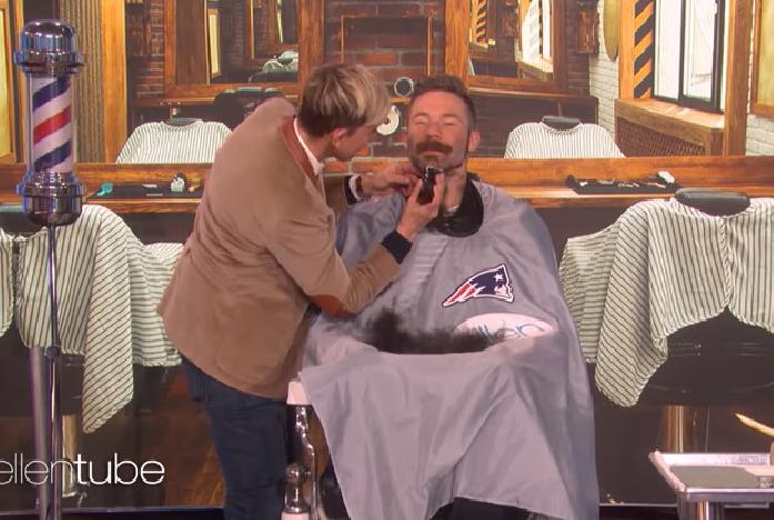 Julian Edelman Shaves Beard During Taping Of The Ellen Show