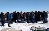 Dozens attend the funeral of Holocaust survivor Eddie Ford in Toronto, Canada, January 31, 2019 (Screen grab via Ynet News)