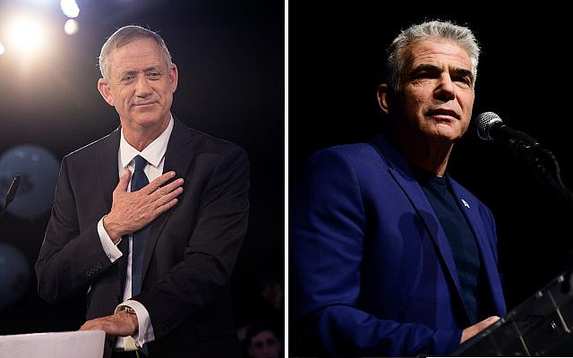 Benny Gantz, left, and Yair Lapid, right. (Hadas Parush, Tomer Neuberg/Flash90)