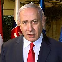 Screen capture from video of Prime Minister Benjamin Netanyahu commenting on the anti-Semitic vandalism of a French Jewish cemetery, February 19, 2019. (YouTube)