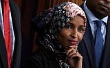 US Rep. Ilhan Omar (D-MN) listens during a news conference on prescription drugs January 10, 2019 at the Capitol in Washington, DC.(Alex Wong/Getty Images/JTA)