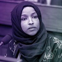 Rep. Ilhan Omar at a House Foreign Affairs Committee hearing in the Rayburn Building in Washington, D.C., Feb. 13, 2019 (Tom Williams/CQ Roll Call/JTA)