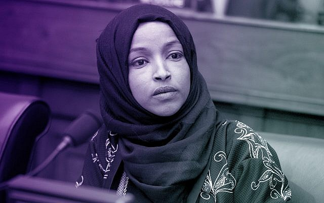 Rep. Ilhan Omar at a House Foreign Affairs Committee hearing in the Rayburn Building in Washington, DC, February 13, 2019. (Tom Williams/CQ Roll Call/JTA)