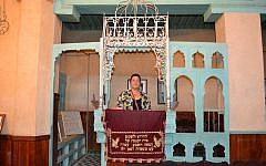 Blanca Carrasco on a visit to a Sephardi synagogue in Fez, Morocco. (Courtesy)