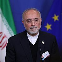 Iran's Vice President and Head of the Atomic Energy Organization Ali Akbar Salehi listens to a question during a joint news conference with European Union Climate Action and Energy Commissioner Miguel Arias Canete at the European Commission headquarters in Brussels, Monday, Nov. 26, 2018. (AP Photo/Francisco Seco)