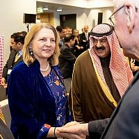 Austrian Foreign Minister Karin Kneissl meets delegates at an international conference on the Middle East in Warsaw, February 14, 2019 (Angelika Lauber)