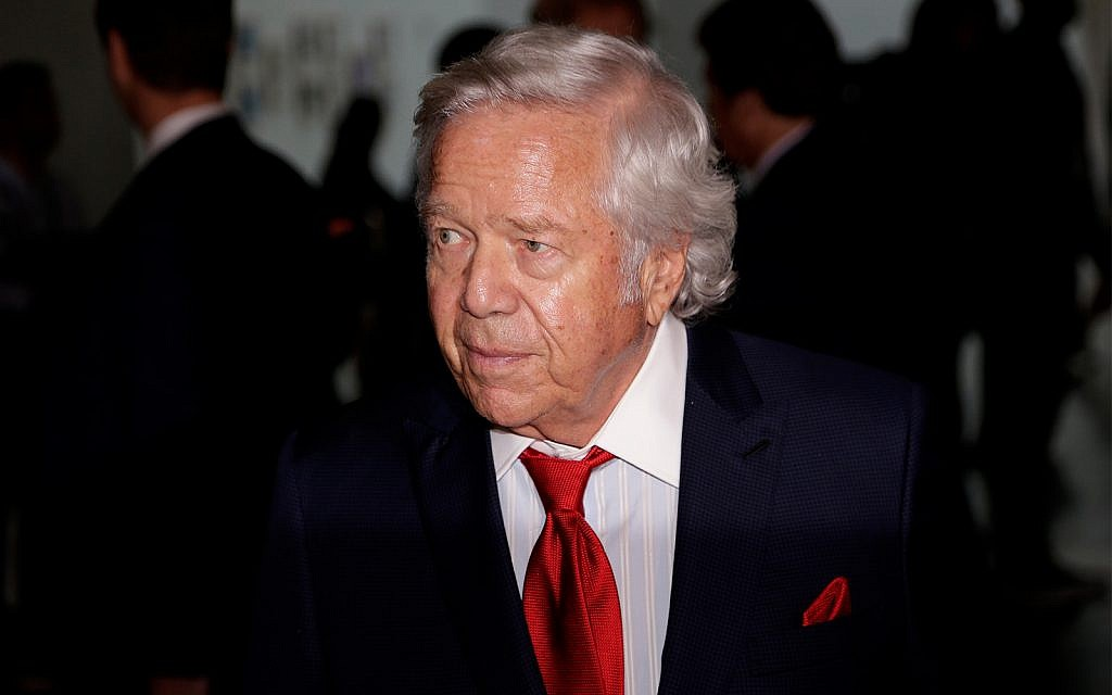 New England Patriots owner Robert Kraft arrives for the NFL football fall meetings in New York, October 16, 2018. (AP Photo/Seth Wenig)