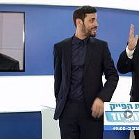 Prime Minister Benjamin Netanyahu (right) and reality TV celebrity Eliraz Sadeh poke fun at Channel 13 crime reporter Moshe Nussbaum on a promo for the new Facebook-based Likud TV, February 2, 2019. (Facebook screenshot)