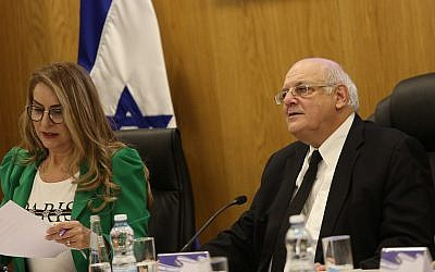 Supreme Court Justice Hanan Melcer, chairman of the Central Elections Committee, and Orly Ades, the committee's director general, seen on February 21, 2019. (Yonatan Sindel/Flash90)