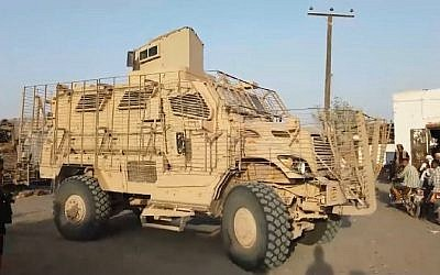 A US-made MRAP, or Mine-Resistant Ambush Protected, armored vehicle in Yemen in the hands of a radical Salafi faction backed by Saudi Arabia and the United Arab Emirates. (CNN screen capture)