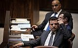 Chairman of the Joint list party, Ayman Odeh, at the plenary session of the opening day of the winter session at the Knesset, October 15, 2018. (Hadas Parush/Flash90)
