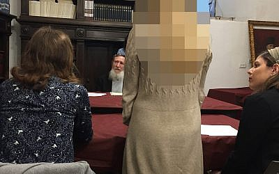 A private rabbinic court, led by Rabbi Daniel Sperber, center, retroactively invalidates the marriage of a Jewish woman whose husband refused to grant her a divorce, Jerusalem, February 3, 2019. (Rachel Stomel)