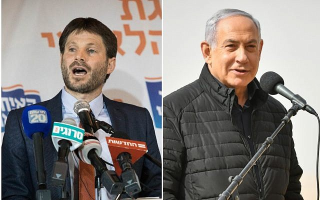Left, Bezalel Smotrich after winning the election for chairman of the National Union, at the Crown Plaza hotel in Jerusalem, January 14, 2019. (Yonatan Sindel/Flash90). Right, Prime Minister Benjamin Netanyahu visits a drill of the Armored Corps in Shizafon Base, in southern Israel on January 23, 2019. (Flash90)